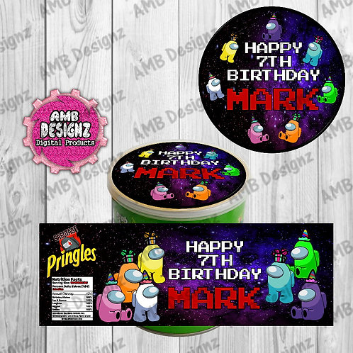 Among Us Pringles Can Labels -  Among Us Party Supplies