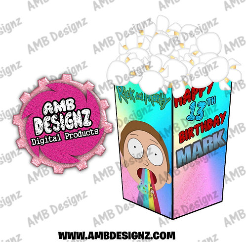Rick and Morty Popcorn Box Favor - Rick and Morty Party Supplies