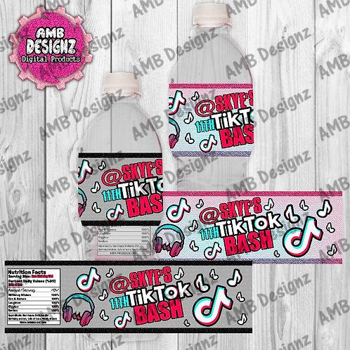 Tik Tok Water Bottle Wrapper - Tik Tok Party Supplies