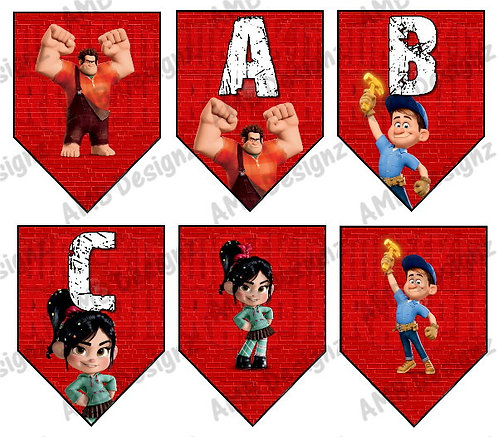 Disney's Wreck-It-Ralph Birthday Party Pennant Flag Banner - INSTANT DOWN