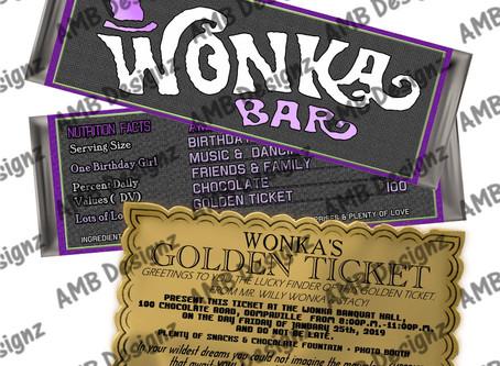 Willy WONKA Scrumdiddlyumptious Chocolate bar & Golden Ticket Invitation set