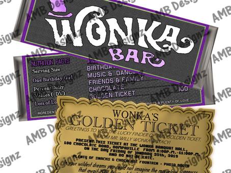 Willy WONKA Scrumdiddlyumptious party ideas- WONKA chocolate bar & Golden Ticket Invitation set