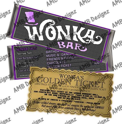Wonka Bar Gold ticket invitation