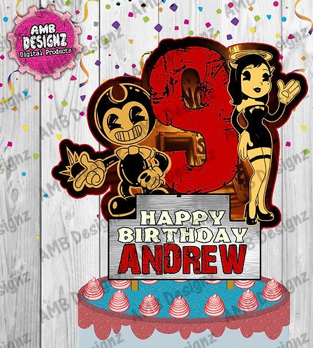 Bendy & the ink Machine Cake Topper Centerpiece,Bendy & ink Machine Party Supply