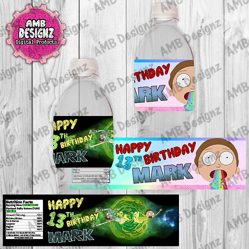 Rick and Morty Water Bottle Wrap - Rick and Morty Party Supplies