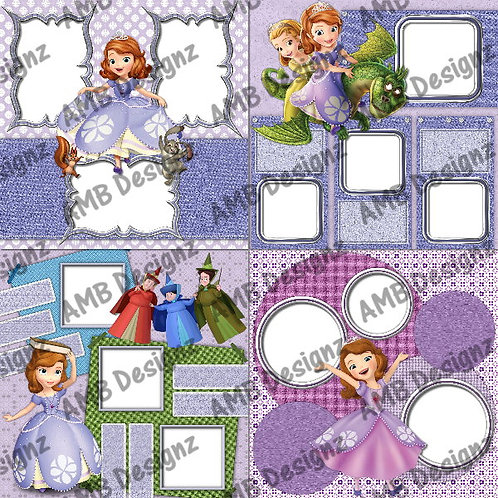 Disney Princess Sofia the First Digital Scrapbooking Premade Album/Pages