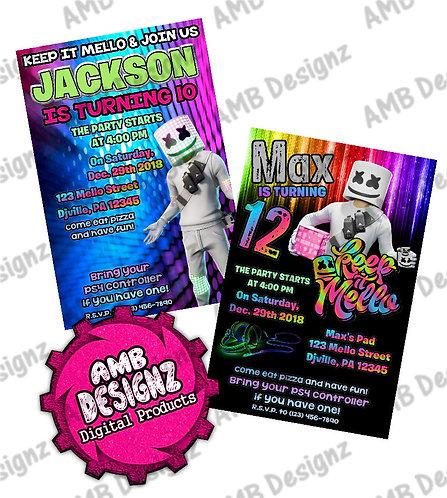 DJ Marshmello Invitations - DJ Marshmello Party Supplies