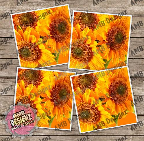 Sunflower Themed Tile Coaster Set
