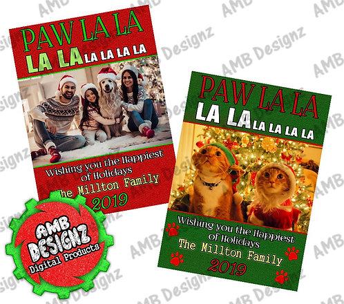Paw La La Photo Christmas Greeting Card - Pet Photo Christmas card