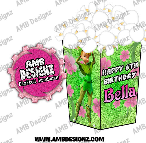 Tinkerbell Fairies Popcorn Box Favor - Tinkerbell Fairies Party Supplies