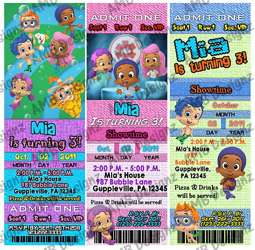 Bubble Guppies Ticket Style Custom Digital Invitation