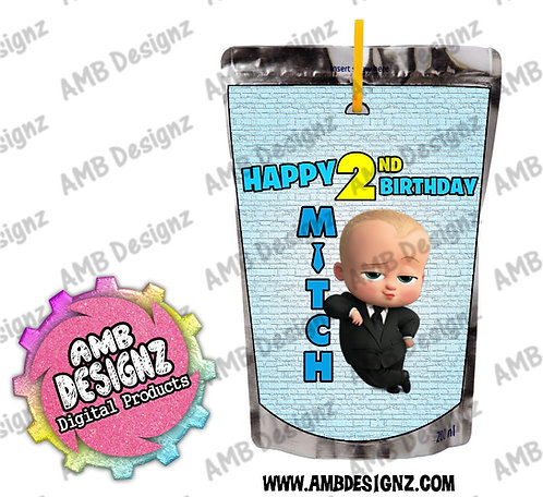 Boss Baby juice pouch label - Boss Baby Party Supplies