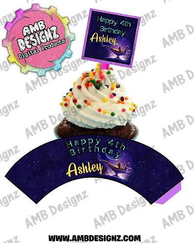 Aladdin Personalized Cupcake Topper and Cupcake wrapper set