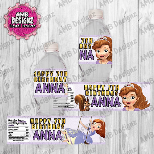 Sofia the First Water Bottle Wrap Party Supplies