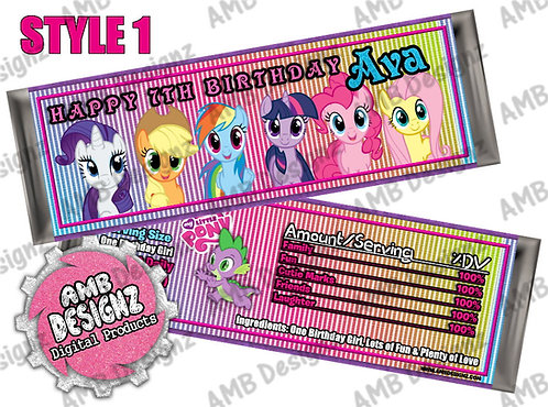 My Little Pony Candy Bar Wrap, My Little Pony Party Supplies
