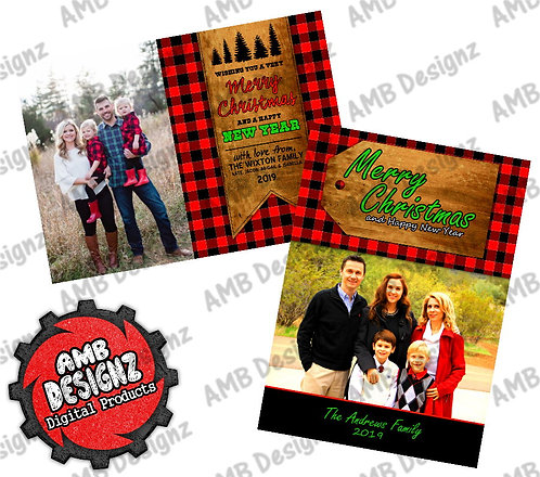Lumberjack Christmas Greeting Card - Red Plaid Photo Christmas card