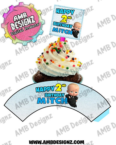 Boss Baby Personalized Cupcake Topper and Cupcake wrapper set