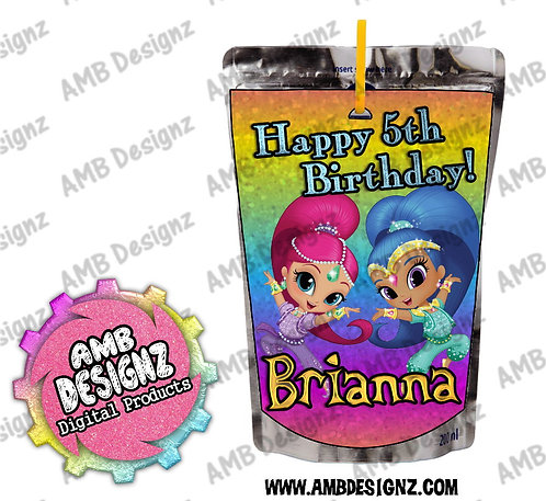 Shimmer and Shine Capri-Sun Juice Pouch Label - Shimmer and Shine Party Supplies