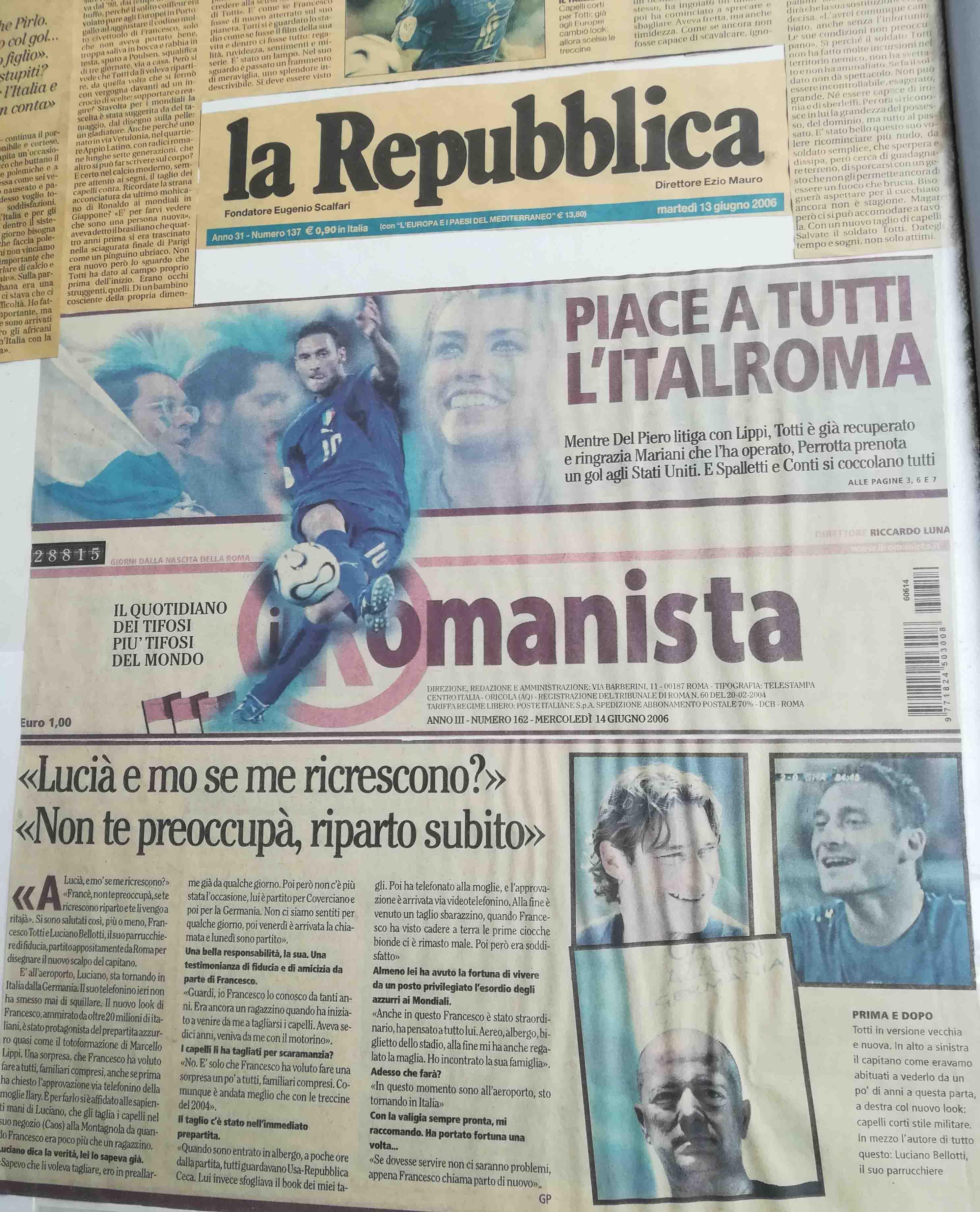 Luciano Bellotti sulla Repubblica. Parrucchiere a.s.roma