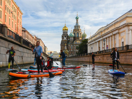 On a board around rivers and canals of Saint Petersburg