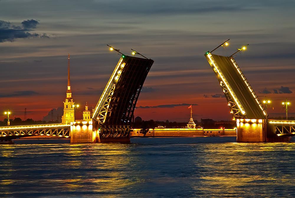 Open bridge in Saint Petersburg