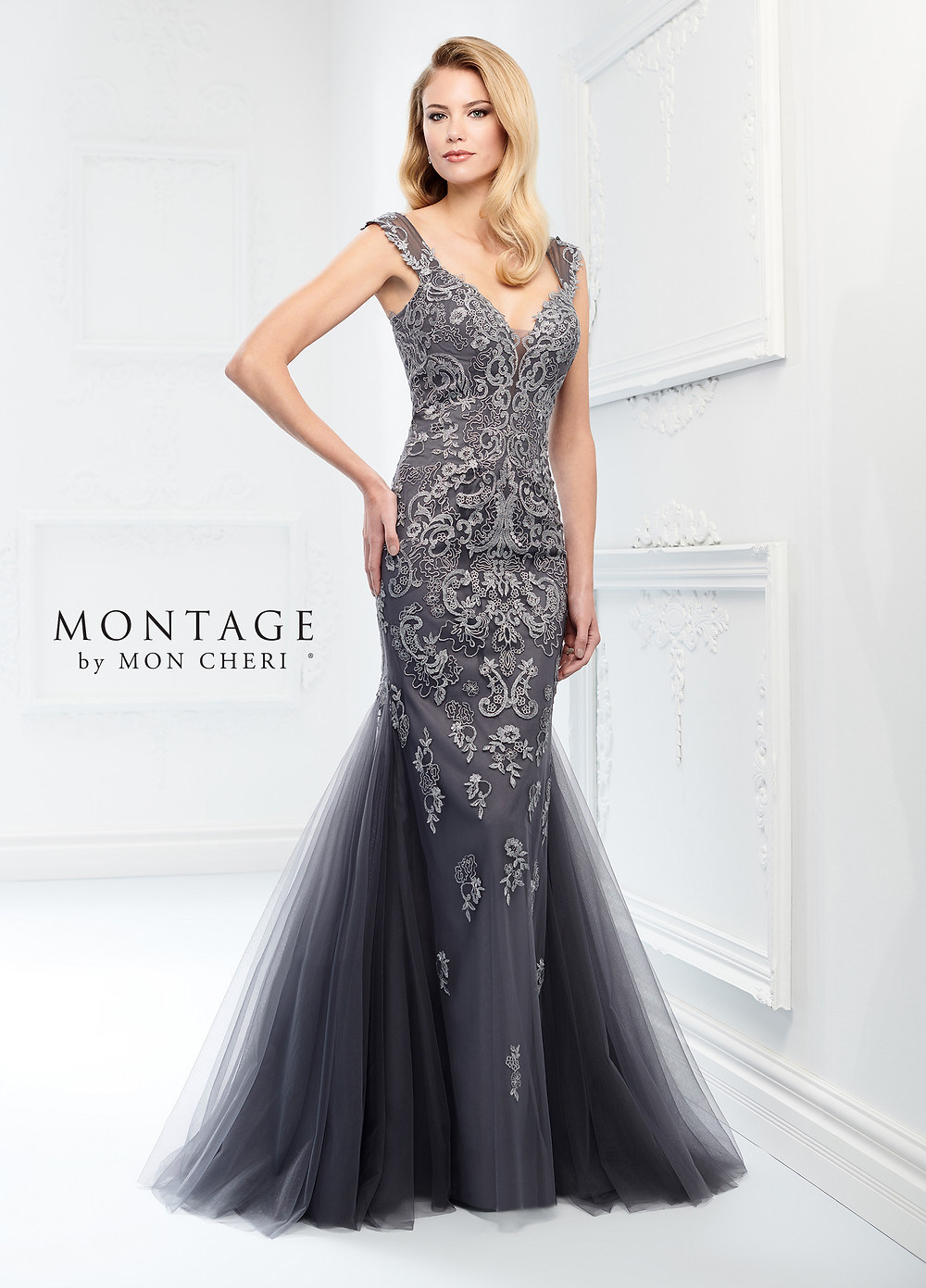 lace and tulle mother of the bride dress gray