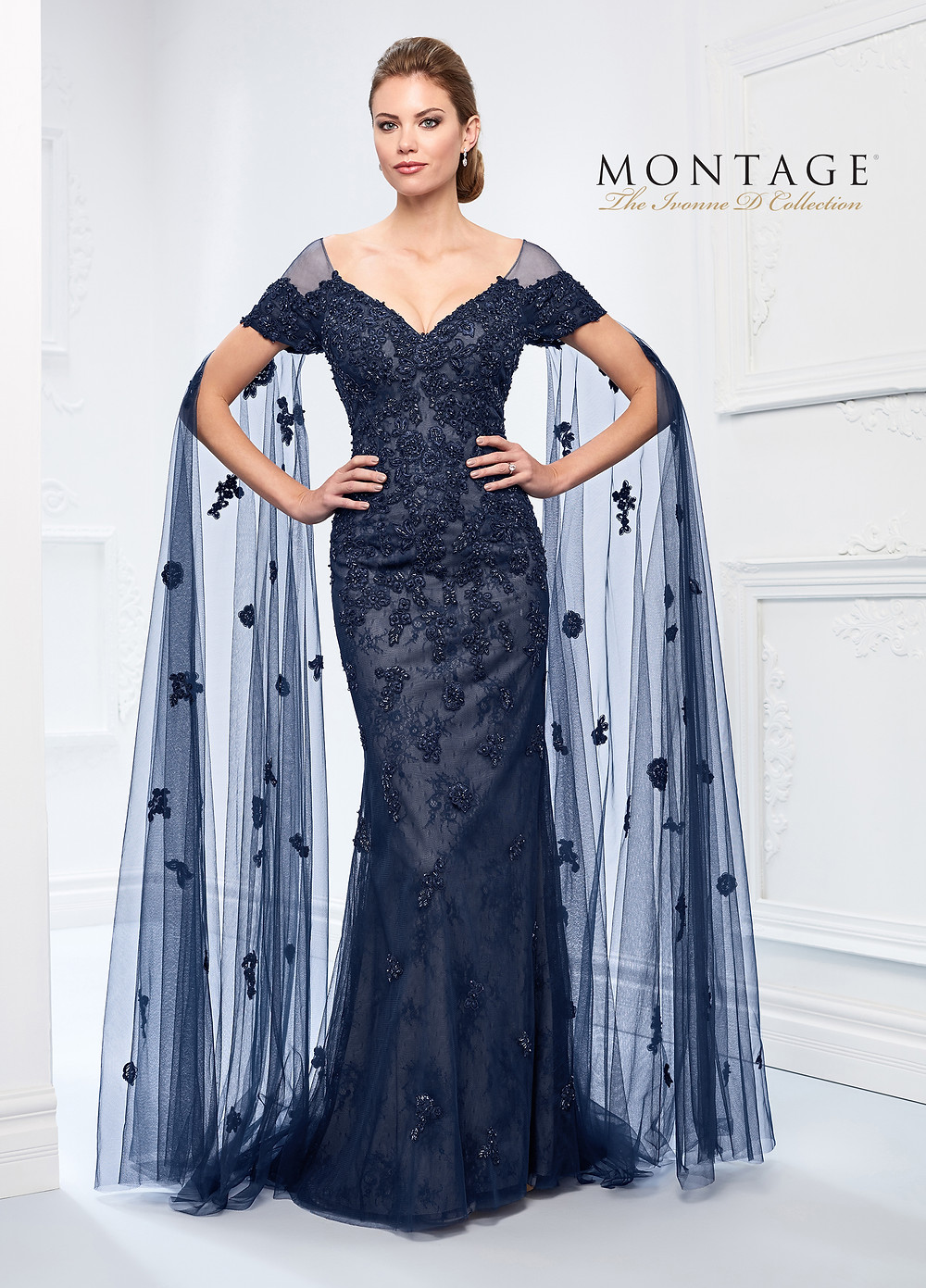 lace off the shoulder mother of the bride dress navy