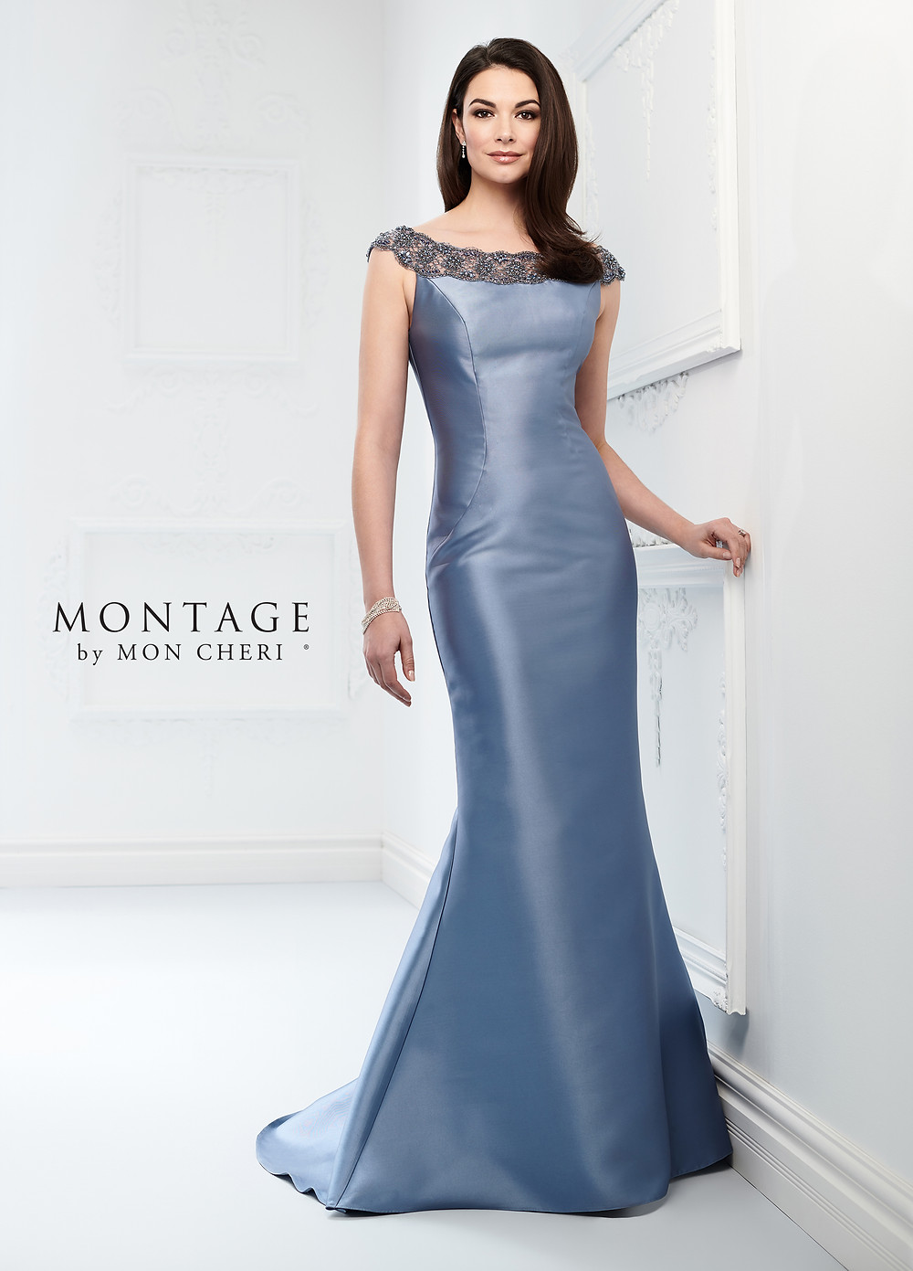 bateau neckline mother of the bride dress blue satin