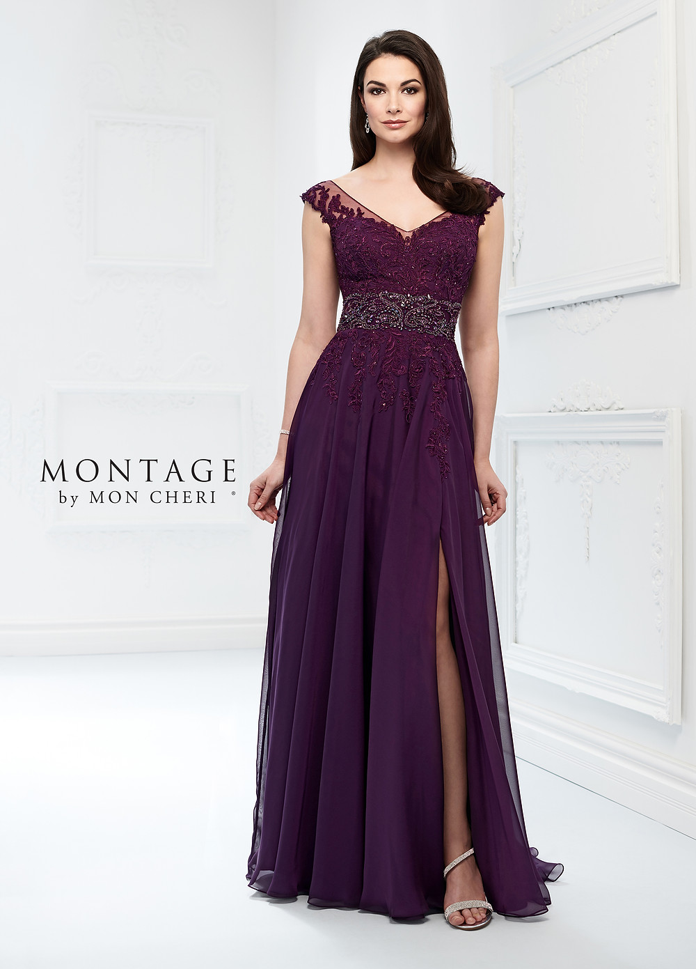 cap sleeve mother of the bride dress purple