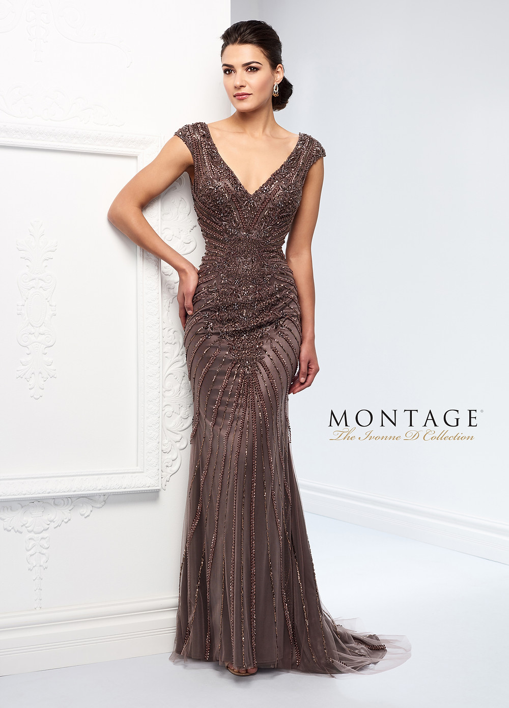 beaded mother of the bride dress champagne