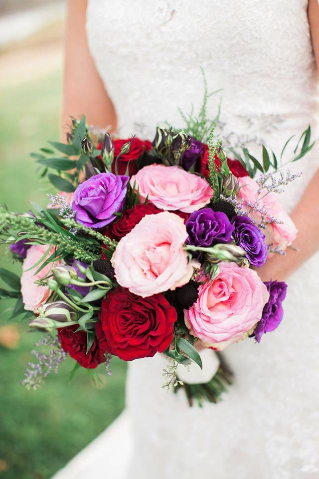 Popular Wedding Colors Bridal Bouquet 2018 St. Louis pink and purple