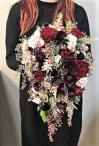 Rustic Cascading Bridal Bouquet burgundy