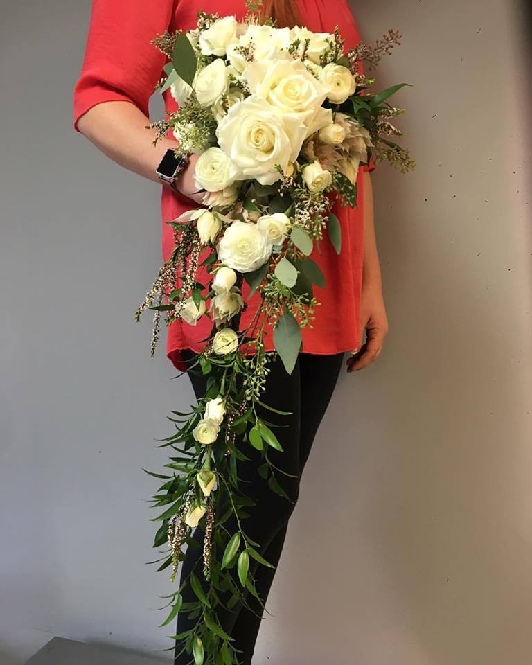 Cascading Bridal Bouquet White Roses