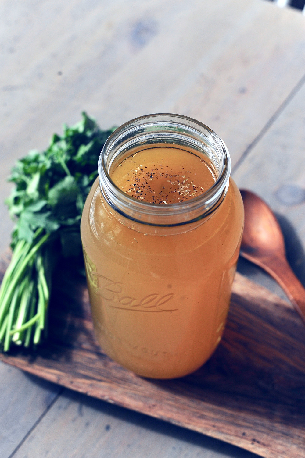 Certified Organic Bone Broth from our own pasture raised chicken