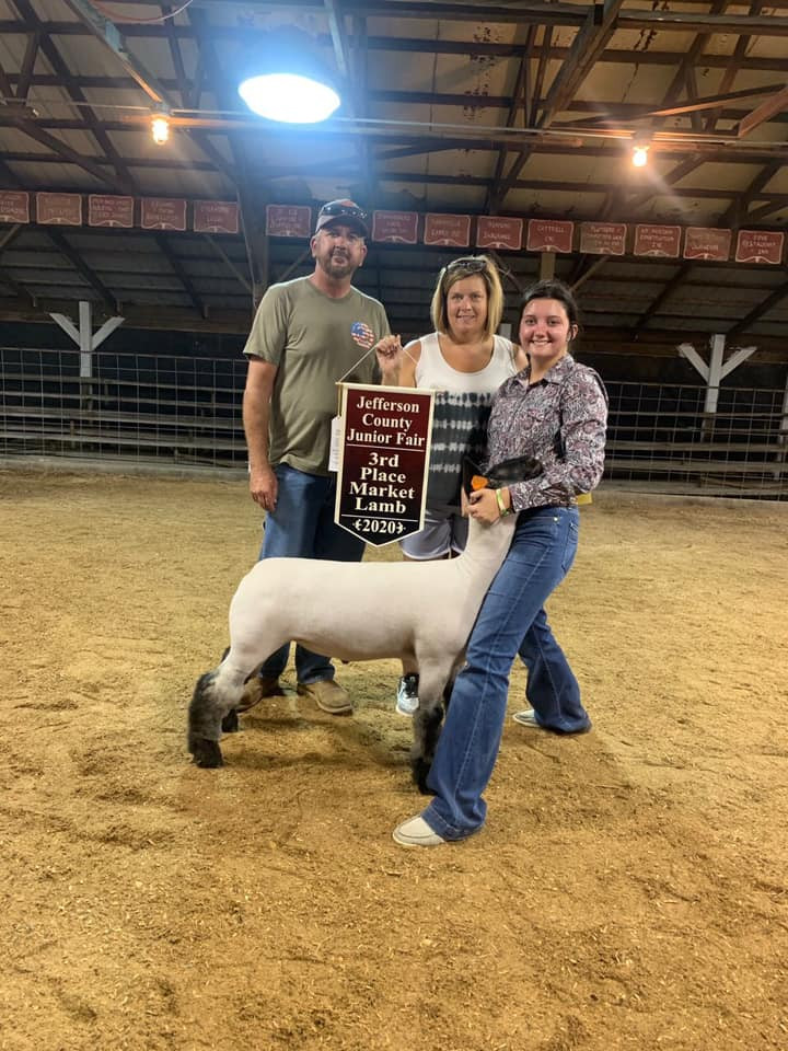 Third Overall Market Lamb Jefferson County Fair  Sired By: Strictly Business Shown By: Harleigh Schaffer