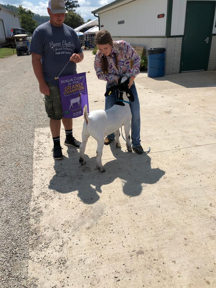 Grand Champion Market Goat Morgan County Fair Shown by: Brooklyn Pierce Raised by: Harbour Livestock Placed by: Adam Family Club Lambs and Tyler Carpenter