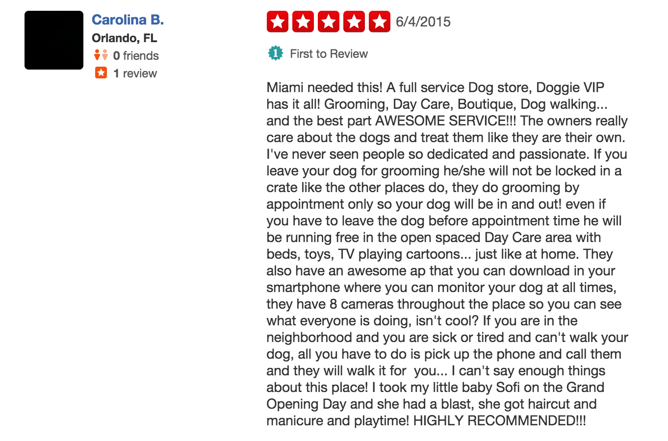 Doggie VIP Miami Reviews