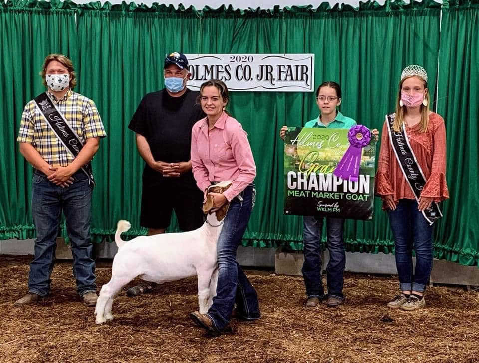 Grand Champion Market Goat Holmes County Fair   Bred By: Carr Show Goats Shown By: Morgan Gingerich Placed by Adam Family Club Lambs