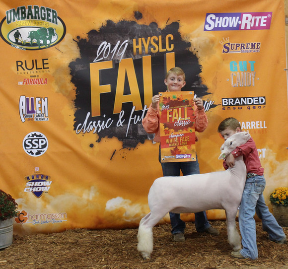 Champion White Face Market Lamb, 2019 HYSLC Fall Classic  Shown By: Tucker Morrical  Sire: Colorblind