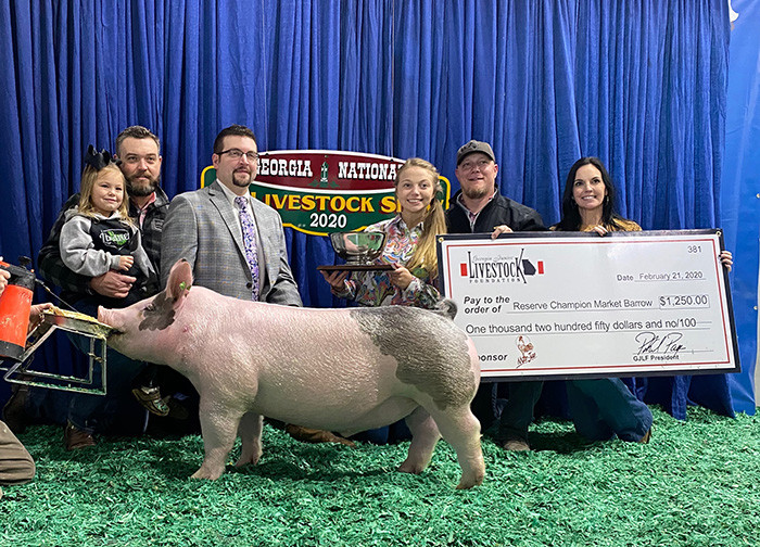 Reserve Grand Champion Barrow  Georgia National  Shown by: Abby Rainwater  Sired by: Dirty Love'n