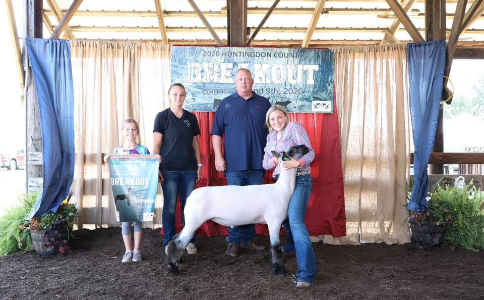 Huntingdon County Breakout  Grand Champion Market Lamb Sired By: Temper Tantrum  Shown By: Maelee Covert