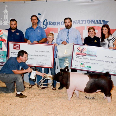 Res. Grand Market Hog Georgia National Fair  Shown by: Carolyne Turner  Bred by: Mauck Show Hogs  Sired by: Cruel (Brockman Farms)