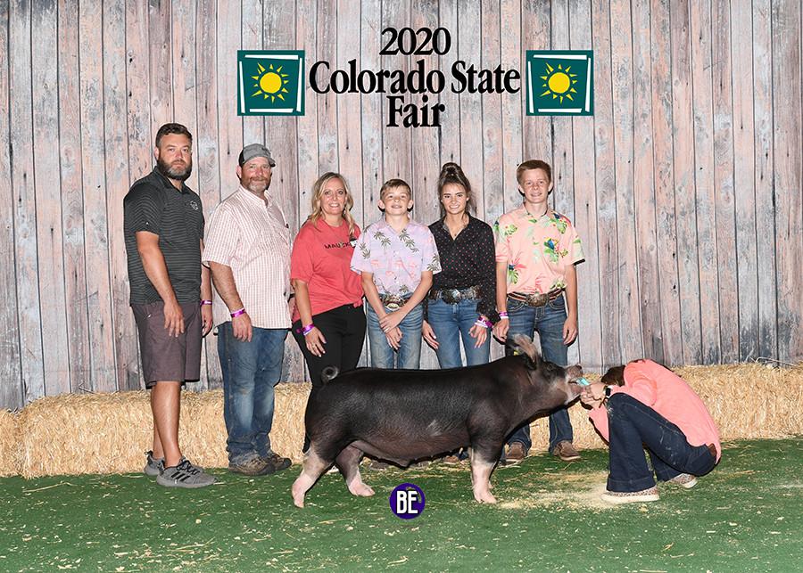 Champion Berk Barrow Colorado State Fair Kyle Kayser Sired by Gorilla Monsoon Bred by Mauck