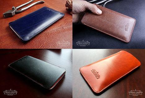 pouzdro pro iPhone z kůže. ručně vyrobné a ušité pouzdro pravé kůže.