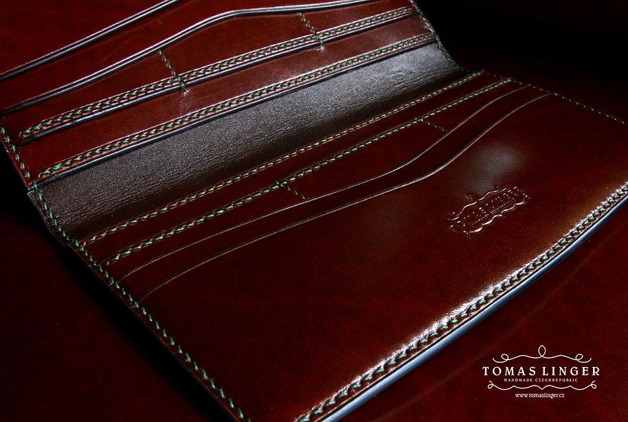 dlouhá pánská peněženka z kůže na zakázku vyrobená