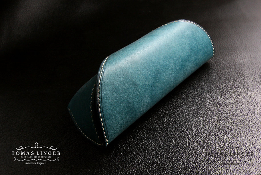 pouzdro pro brýle z pravé kůže ručně vyrobené