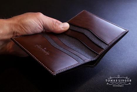 eleganní peněžeka z kůže ručně ušitá pánská. dárek rychle