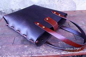 kabelka z kůže robusní ručně šitá