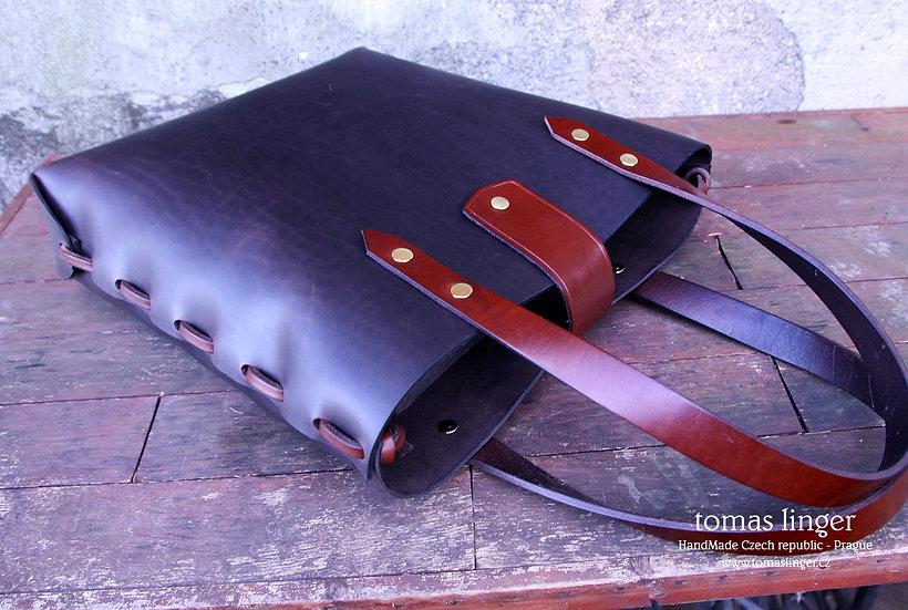 Kabelka - taška ze silné a tuhé kůže - Tote Bag s možností crossbody