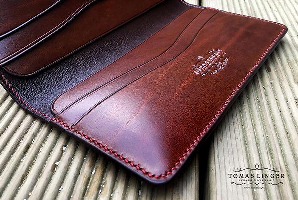 velká pánskýá peněženka z krásné hnědé kůže. ručně vyrobeno tomas linger